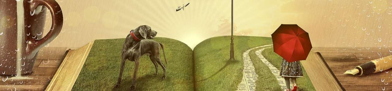 En ung tjej och en svart hund står i en uppslagen bok.