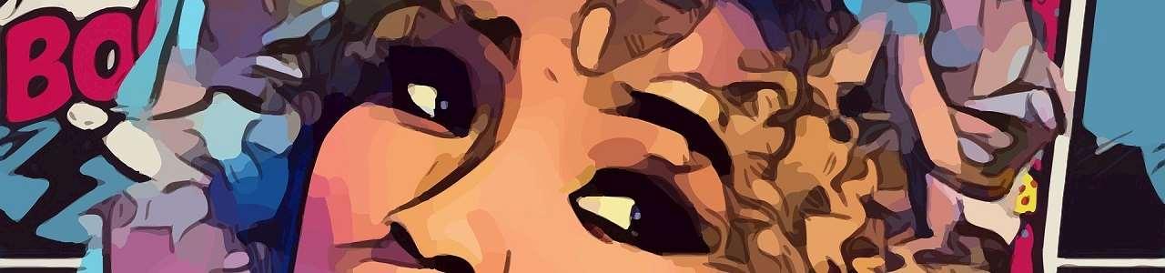 En tecknad bild där man ser en tjejs övre del av ansiktet.